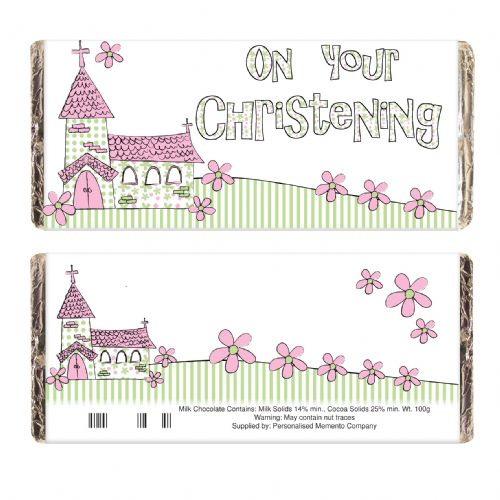 Pink Church Christening Chocolate Bar